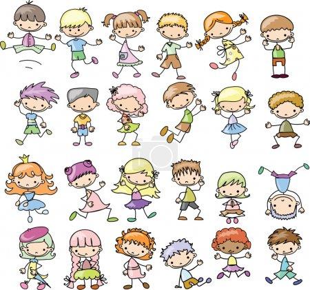 Illustration pour Set dessin animé enfants jeu de dessin animé enfants - image libre de droit