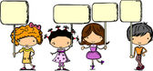 Cute children holding banners