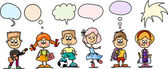 Cute cartoon children with speaking bubbles