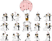 Set of wedding pictures bride and groom in love
