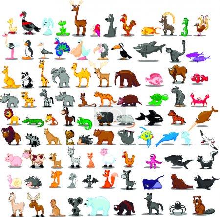 Photo pour Super ensemble d'animaux de dessin animé mignon - image libre de droit