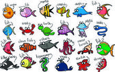 Big set of cartoon marine animals