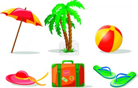 Illustration for Travel background, palm, ball, flip-flops and suitcase - Royalty Free Image