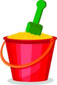 Cestování ikona, kbelík s lopatou