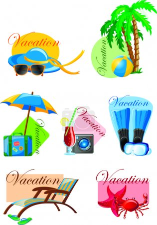 Illustration for Vacation and travel background, vector illustration for your design. palm, ball, lounge, umbrella, flippers and suitcase - Royalty Free Image