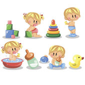 Vector illustration of baby boys baby girls toys and nursery accessories