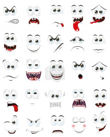 Illustration for Cartoon faces with emotions set illustration - Royalty Free Image