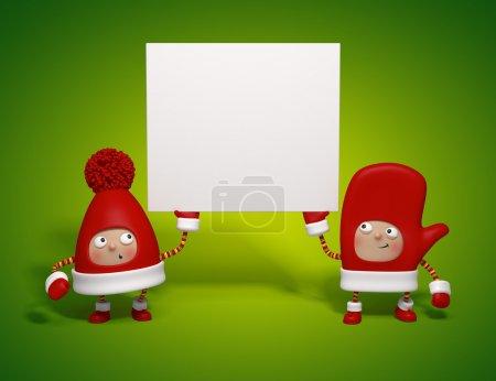 Photo pour Personnages de Noël tenant bannière isolé sur fond vert - image libre de droit
