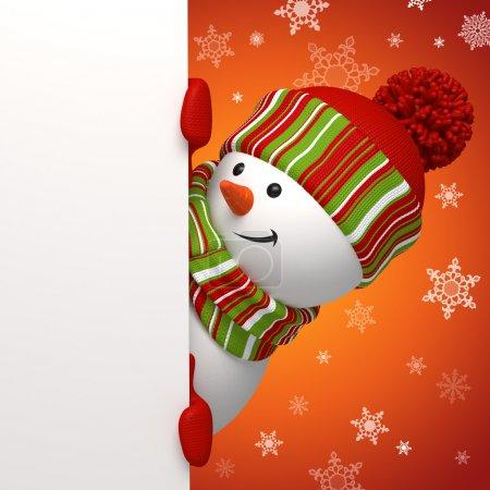 Photo pour Salutation de Noël avec bonhomme de neige tenant le panneau de message - image libre de droit