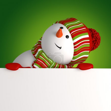 Photo for Christmas greeting with snowman holding message banner - Royalty Free Image