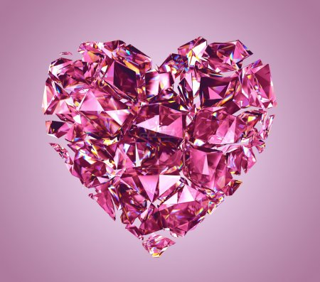 Broken pink crystal heart