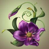 Modrý květ se zelenými listy