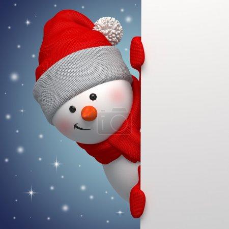 Photo pour Bonhomme de neige drôle mignon tenant la page blanche, personnage 3d, se cachant derrière le coin - image libre de droit