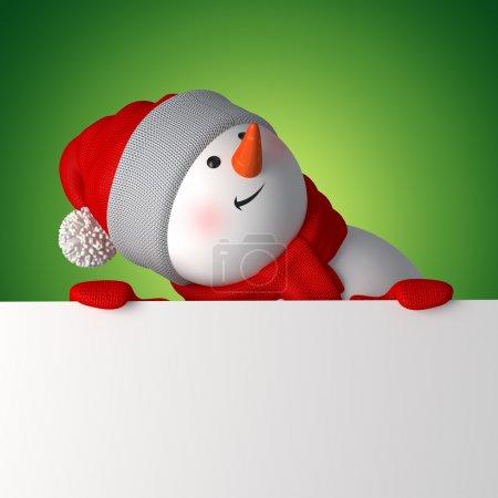 Photo pour Mignon bonhomme de neige 3d en levant, tenant la bannière de Noël blanc - image libre de droit