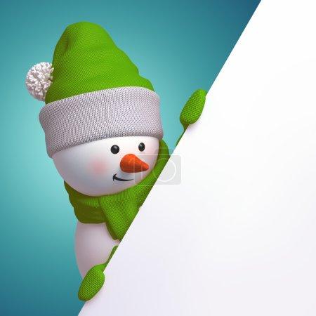 Photo pour Bonhomme de neige mignon drôle, 3d page caractère tenue blanche, se cachant derrière le coin - image libre de droit