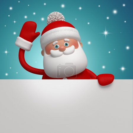 Photo for 3d Santa Claus holding blank Christmas banner - Royalty Free Image
