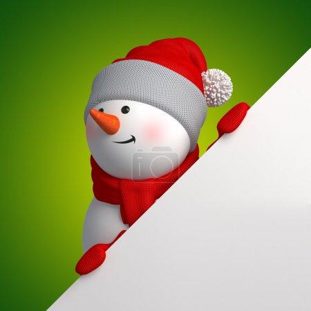 Photo pour Bonhomme de neige mignon drôle, 3d page caractère tenue blanche, se cachant derrière le coin sur fond vert - image libre de droit