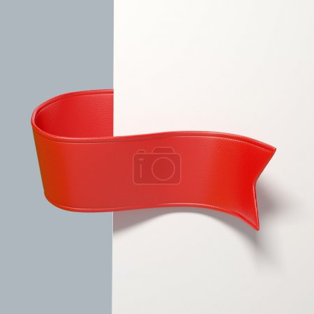 Photo pour Marque-page ruban rouge 3d, objet isolé - image libre de droit