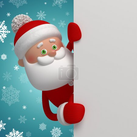 Photo for Happy Santa Claus holding blank banner, 3d character, winter background - Royalty Free Image