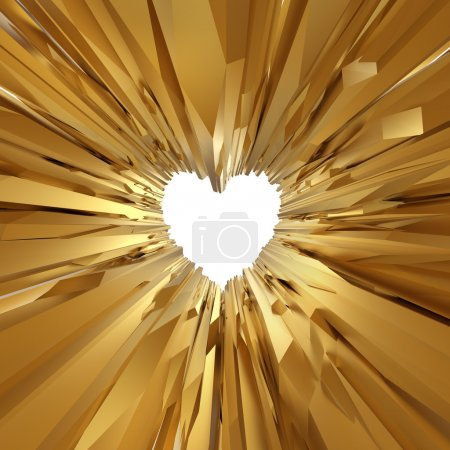 Gold crystal glass background with heart symbol