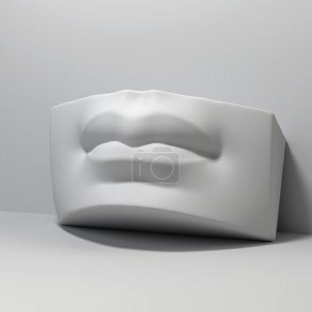 3d David sculpture lips detail