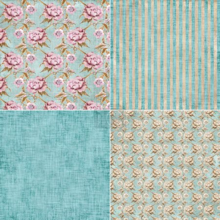 Photo for Vintage floral background set : peony, roses and leaves shabby chic textile swatches - Royalty Free Image