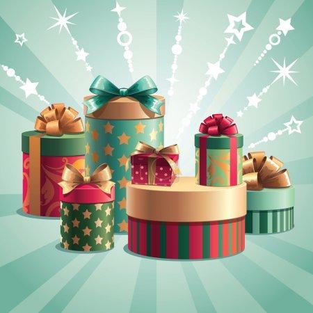 Illustration pour Cadeaux de Noël pile - image libre de droit