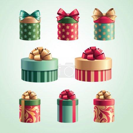 Illustration pour Coffrets cadeaux de Noël ensemble isolé - image libre de droit