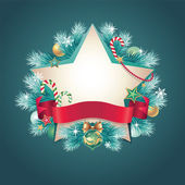 Vintage Christmas star banner with ribbon