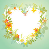 Heart shaped frame with floral ornate border blank banner vector illustration