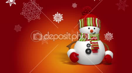 Christmas snowman greeting background