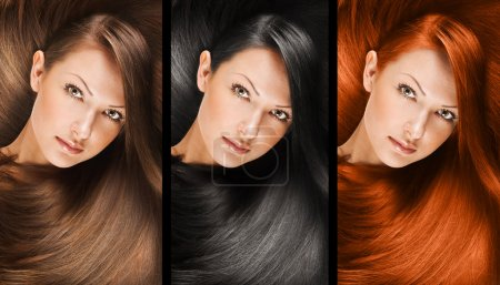 Collage of a beautiful young woman with long natural straight hair, mixed color, conceptual hairstyle