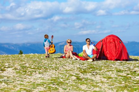 Photo for Happy family camping in mountains - Royalty Free Image
