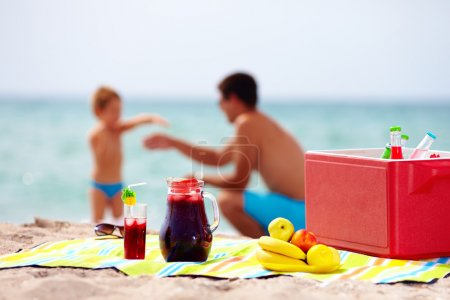 family picnic on the beach