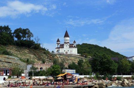 View from the sea to the Church of St. Nicholas. Armenian Apostolic Church. Settlement Novomikhailovsky Tuapse district, Krasnodar Krai, Russia.