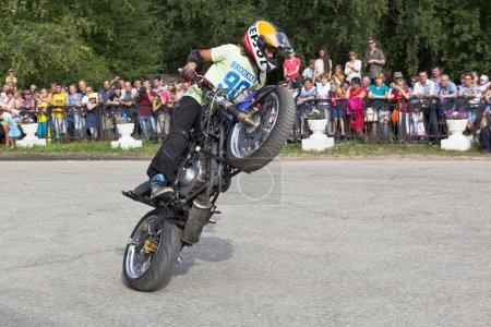 Thomas Kalinin Moto show in the village Verkhovazhye, Vologda region, Russia