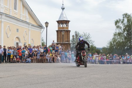Motorcycle Show on Cathedral Square in Verkhovazhye, Vologda region, Russia