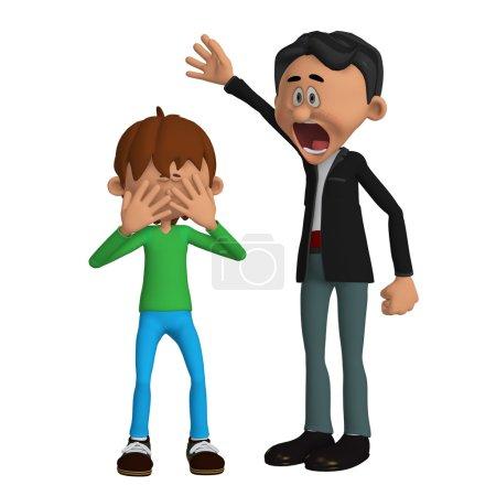 Foto de Padre enojado con un niño - Imagen libre de derechos