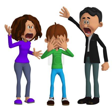 Foto de Padres enojados con un niño - Imagen libre de derechos