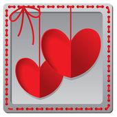 Srdce z papíru Valentýna karty vektorové pozadí