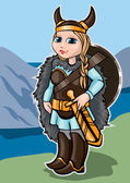 Viking girl on a background of mountains and sea
