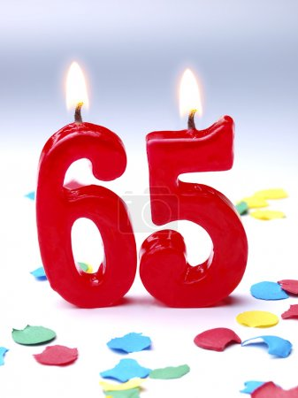 Birthday candles showing Nr. 65