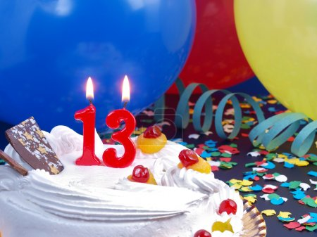 Birthday cake with red candles showing Nr. 13