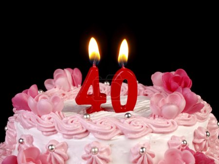 Birthday cake with red candles showing Nr. 40