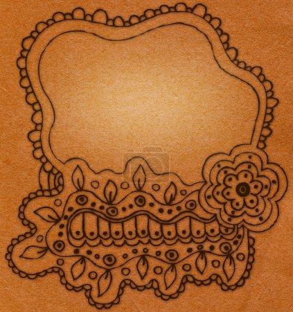 Photo pour Cadre décoré (salutations vintage beige ) - image libre de droit