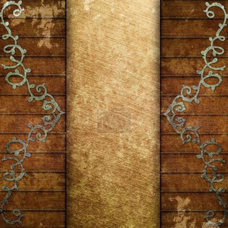 Photo for Ornament on wooden wall with golden plate - Royalty Free Image