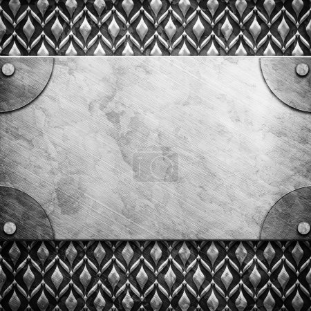 Photo for Metal plate on metal ornament - Royalty Free Image