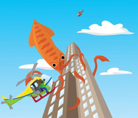 Vector illustration of a giant squid attacking sky...