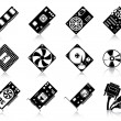 12 icons/ silhouettes of computer hardware....