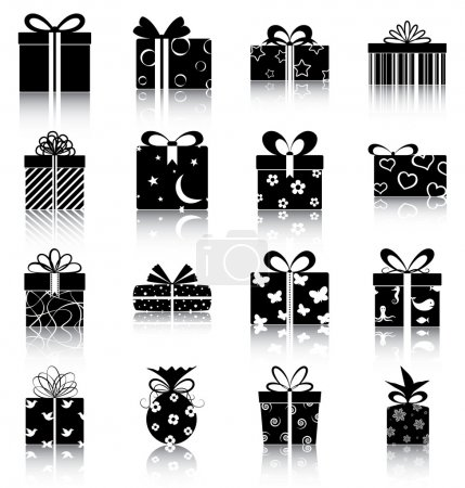 Illustration for 16 silhouettes/ icons of gift boxes. - Royalty Free Image
